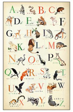 French Animal Alphabet Poster