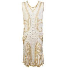 1920's French Gold & Silver Beaded Cotton Flapper Dress