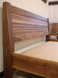 LaRochelle Furniture, Maine - black walnut and african zebra wood bed