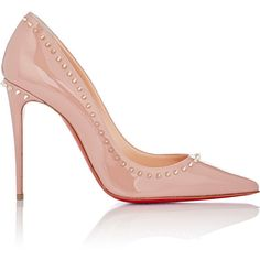 Christian Louboutin Women's Studded Anjalina Pumps ($795) ❤ liked on Polyvore featuring shoes, pumps, heels, sapatos, christian louboutin, nude, slip on shoes, high heel shoes, nude patent pumps and pointed toe pumps