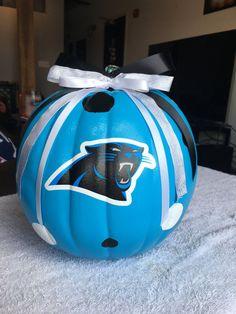 Items similar to Carolina Panthers pumpkin on Etsy Football And Basketball, Football Helmets, Softball, Carolina Panthers Football, Panthers Team, Carolina Pride, Panther Nation, Football Crafts, Pittsburgh Steelers