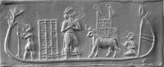 """""""Cylinder seal found at Uruk, biblical Erech. Large figure in the boat can be identified as a king from his garb. His hair and beard indicates he is Semitic-Akkadian, not Sumerian. What would an Akkadian king be doing riding in a boat loaded with crates and animals?"""""""