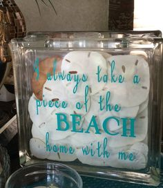 Glass block from Hobby Lobby & vinyl lettering. Seashell Art, Seashell Crafts, Beach Crafts, Sand Crafts, Tile Crafts, Vinyl Crafts, Decorative Glass Blocks, Rc Hobby Store, Glass Block Crafts
