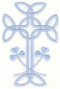 """2.58 X3.91  Cross with shamrocks (AIHE104) Embroidery Design by Adorable Ideas(2.58"""" x 3.91"""") $2.00"""