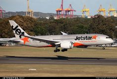 Jetstar Airways (JP) Boeing 787-8 Dreamliner VH-VKK aircraft, with the sticker ''All Day, every day, low fares'' in orange letters, landing at Australia Sydney Kingsford Smith International Airport. 27/05/2016.