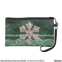 #EmeraldGreen #FauxLaceBorder #GlitterSnowflake #Wristlet by #MoonDreamsMusic #ChristmasStyle
