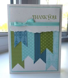 9 Ideas for Easy Homemade Thank You Cards - Paper Scraps Thank You Card - Cool Cards, Diy Cards, Washi Tape Cards, Karten Diy, Card Sketches, Card Tags, Paper Cards, Creative Cards, Greeting Cards Handmade