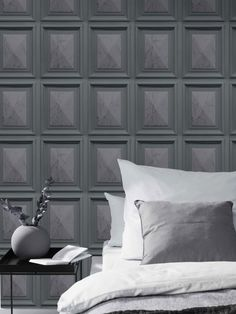 This stylish Marble Wood Panel Effect Wallpaper will make a great focal point in your home. The design is based on rectangular wood panels in grey tones, with realistic detailing and clever shading to add depth, and a marble pattern in the centre of each panel for added interest. Easy to apply, this high quality wallpaper has a lightly textured finish with a subtle sheen to catch the light and will look great when used to decorate a whole room or to create a stunning feature wall. Charcoal Wallpaper, Grey Wallpaper, Blue Wallpapers, Dark Blue Feature Wall, Dinner Room, Marble Wood, Hallway Designs, High Quality Wallpapers, Light Texture