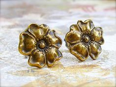 Wild Rose - antique brass post earrings
