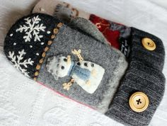upcycled felted wool sweater mittens snowman by miraclemittens, $38.00