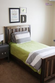 BeingBrook: DIY Ana White Twin Bed {Rustic aged finish} how-to on the finish - maybe for his bookshelf too.