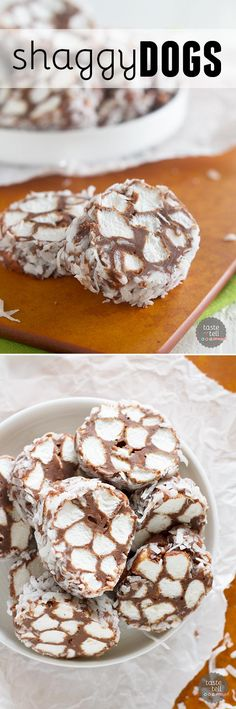 Shaggy Dogs - Marshmallows are coated in chocolate and rolled in coconut in this easy candy recipe.