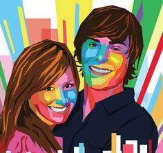 Teen couple in polygons pop art style