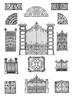 Laser cut screen or mylar divider ideas to frame & hang from the ceiling on chains, IKEA style.Top Amazing design ideas of wrought iron doorsForged Ironwork Door Patterns, try to paintWrought iron doors are indeed a style from the past. With creativity, y Metal Gates, Wrought Iron Doors, Tor Design, House Design, Door Gate Design, Grill Design, Iron Art, Steel Doors, Windows And Doors