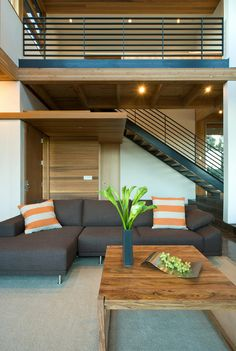 modern living room / stairs / railing