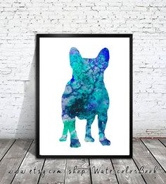 French Bulldog Blue Watercolor Print Home Decor by WatercolorBook