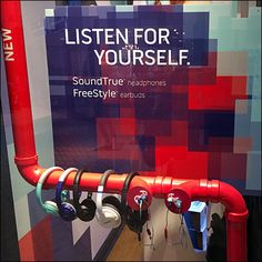 Normally I would expect a sophisticated display from Bose, but here red Headphone PVC Pipe Dream Display is constructed for a youthful street-wise display. Plumbing Pipe, Pvc Pipe, Retail Branding, Pos Display, Displays, Phone Shop, Point Of Purchase, Store Interiors, Pipe Dream