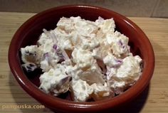 majonézes krumplisaláta lilahagymával Feta, Potato Salad, Cabbage, Potatoes, Cheese, Vegetables, Ethnic Recipes, Potato, Cabbages
