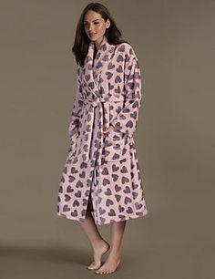 Textured Heart Print Fleece Belted Dressing Gown