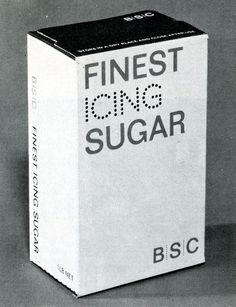 BSC | British Sugar Corporation (1969)  Glued folding box for icing sugar. Two colors printed on white board.  Designer: Hans Schleger and Associates Design Director: Hans Schleger  Client: british Sugar Corp. Ltd.