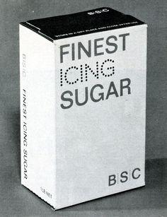 BSC | British Sugar Corporation (1969) Glued folding box for icing sugar. Two colors printed on white board. Designer: Hans Schleger and Associates Design Director: Hans Schleger Client: british Sugar Corp. Ltd.