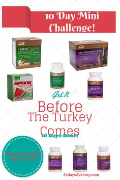 Take the Mini Challenge before the holidays!! Regular mini Advocare Challenge is 10 days with cleanse/shakes/catalyst/spark/and omegaplex Add the Carb Ease Plus, Fibo Trim, and Lepti Lean for Mini Challenge Plus https://www.advocare.com/130825820/Store/ViewBundle.aspx?bundleID=1101024&type=B