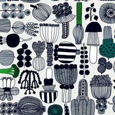Puutarhurin parhaat fabric - black/green - Marimekko