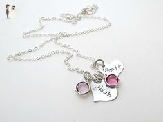 Personalized Heart Necklace with Birthstone | Kids Names | Sterling Silver | Mother - Wedding nacklaces (*Amazon Partner-Link)