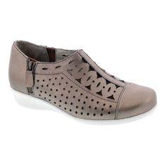 5c9fd65b22 Women's Drew Metro Zip On Wedge - Taupe Dusty Leather Arthritis Leather  Slip On Shoes,