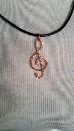 Large Copper Treble Clef Necklace by CatsCreationsLLC on Etsy