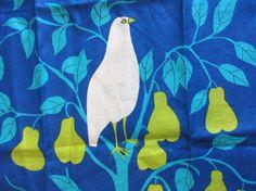 Blue partridge. Vtg Vera Neumann kitchen or tea towel in my Etsy shop fuzzandfu, $42.00