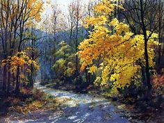 """Jim Gray - """"October Gold"""" Comments by artist: """"Cool crisp days of autumn and the winding mountain road ahead offer one a place to walk in peace and solitude while enjoying the beauty of """"October Gold"""". This particular road leads to the trail to Ramsey Cascades and the Pinnacle in the Greenbrier Section of the Great Smoky Mountains National Park."""""""
