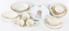 """Lot 619: Lenox """"Special"""" Serving China; Including a round serving bowl, two oval serving bowls, an oval serving bowl with underplate, a gravy boat and three coffee cups; together with two Lenox candy dishes and a round bowl with a printed Victorian female portrait"""