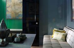 lacquered blue walls ~ Steven Gambrel design