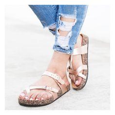 Rose Gold Slip-On Buckle Cork Sandals   #shopshoetopia