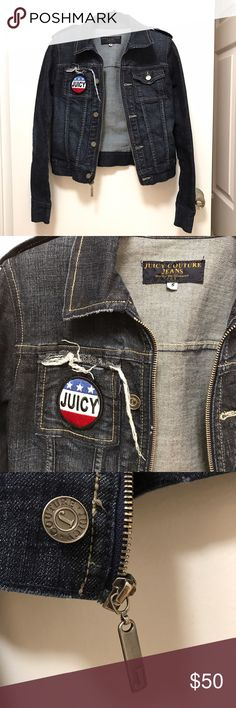 "Juicy Couture denim jacket Juicy Couture denim jacket. Dark blue wash with silver hardware. ""JUICY"" patch on front pocket with distressed detail. Elbow patches. Trendy and great for spring! Juicy Couture Jackets & Coats Jean Jackets"