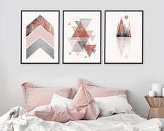 Druckbare Kunst, 3er Set, herunterladbare Drucke, Print Set, rosa, grau, Rose Gold, Skandinavisch, geometrische, Wand verlaufenden Kunst, Kunst, Drucke, Kunst