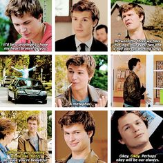 ♡Augustus Waters♡ I love when he runs into the door! Hahah I love all of these scenes and Ansel Elgort as the amazing role of Gus!