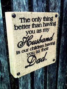 The Orignal Burlap Husband Dad Burlap Block Sign por DesignsBySyds, $17.99