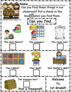 "Little Warriors: Kindergarten Orientation/Open House Treasure Hunt-Freebie! What a cute idea for "" meet the teacher"" Back To School Night, 1st Day Of School, Beginning Of The School Year, School Fun, School Ideas, School Stuff, School Starts, School Games, School Tips"