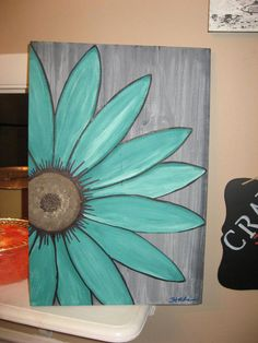 turquoise flower daisy painting rustic flower wood flower wall art by SouthofParis on Etsy diy canvas prints, canvas painting tutorial, fall canvas Daisy Painting, Easy Canvas Painting, Diy Canvas, Painting & Drawing, Painting Flowers, Canvas Ideas, Rustic Painting, Simple Paintings On Canvas, Painting Walls