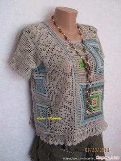 Ideas for crochet granny square top posts Freeform Crochet, Crochet Granny, Filet Crochet, Irish Crochet, Easy Crochet, Knit Crochet, Crochet Tops, Crochet Bodycon Dresses, Black Crochet Dress