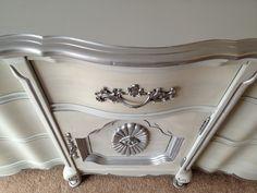 vintage french provincial dresser paris grey silver i 1024x768 Vintage 9 Drawer French Provincial Dresser Painted Distressed Grey Chalk Paint