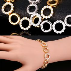 Luxury Cubic Zirconia Bracelets For Women Crystal Round Bracelet Christmas Gift For Women