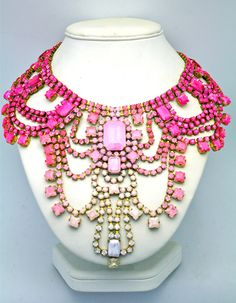 Dolores Petunia - hand colored vintage crystals. Hand-made, One of a Kind Statement Necklace- Paris 3. $475.00, via Etsy.