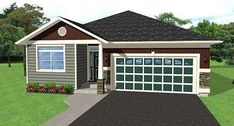 Two Bedroom Cottage - 6750MG thumb - 02 Free House Plans, Small House Floor Plans, House Plans One Story, Bungalow Homes, Bungalow House Plans, Cottage House Plans, Small House Living, Open Living Area, Farm Cottage