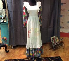 1960's Maxilength Pinafore with Hand Embroidered Scene by LisaLaRueRetroActive, $39.95