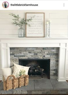 Change fireplace mantle make more modern See these gorgeous fireplaces and consider taking your own design to the next level. 65 Inspiring Fireplace Ideas To Keep You Warm. Brick Fireplace Makeover, Home Fireplace, Fireplace Remodel, Fireplace Design, Fireplace Ideas, Fireplace Hearth Decor, Fireplace Stone, Mantel Ideas, Mantles Decor