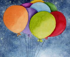 dibujos de globos en acuarelas - Buscar con Google