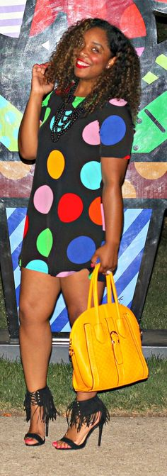 Style & Poise. Colorful polka dot dress, fringe sandals, yellow purse